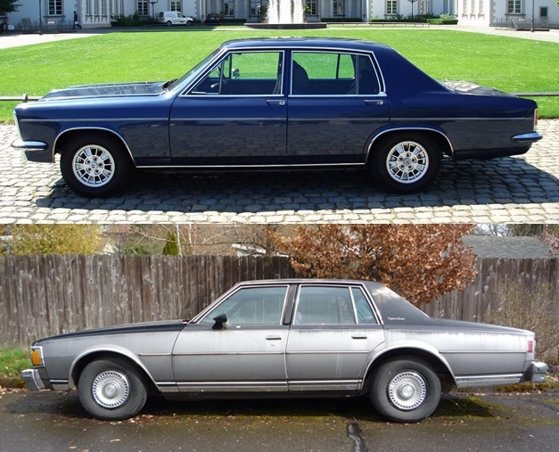 The '69 Kapitan and '77 Caprice. Thanks to The Truth About Cars for the image.