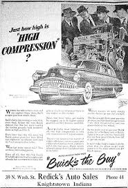 1949 Buick advertisement. It´s about high compression and men with hats.