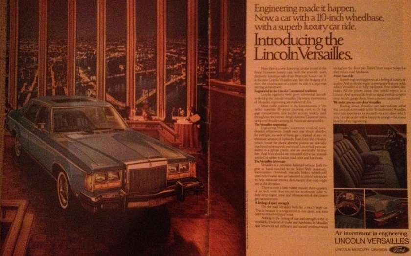 1977 Lincoln Versailles advertisement. Engineering put a big car in a Manhattan restaurant 54 floors up.