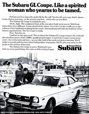 1973 Subara GL: casual sexism. We have avoided printing the worst of it.