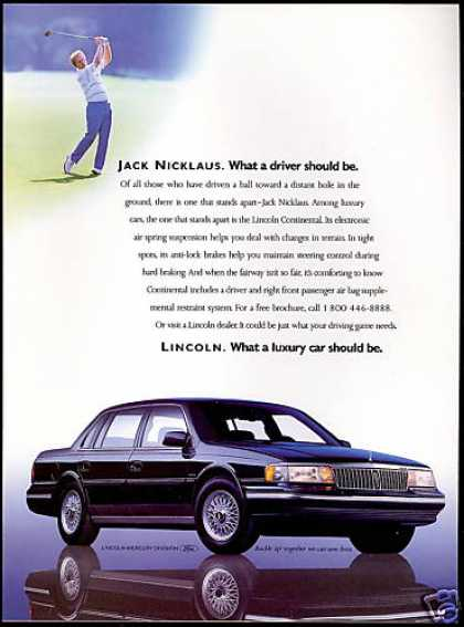 1990 Lincoln Continental with Jack Nicklaus. Actually a pretty good car.