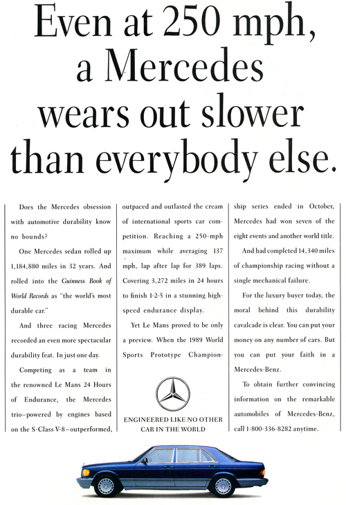 Lots of lovely copy. A serious ad for a serious car.