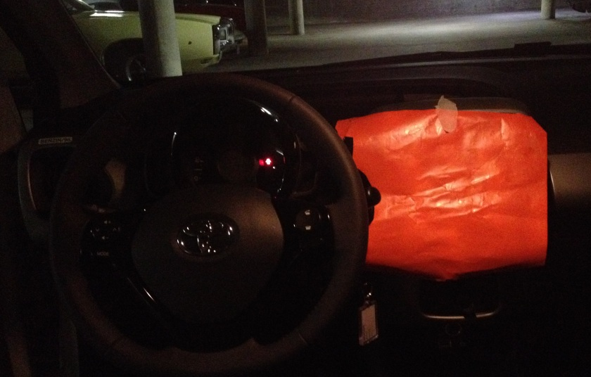 2014 Toyota Aygo lit with paper-interior light on