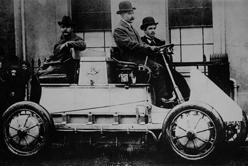 """1900 Lohner Porsche: """"Lohner Porsche cars used electric motors mounted within the wheels. That eliminated the weight and friction of a conventional drivetrain. """""""