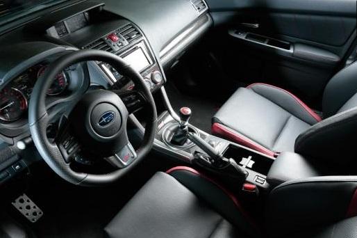 2015 Subaru WRX STi interior: robust, in the Subaru tradition,