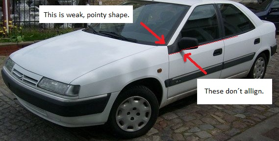 1993 Citroen Xantia with red arrows attacking its a-pillar.