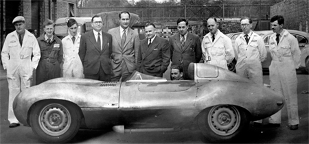 Malcolm Sayer - (centre, left) Bill Heynes and Bob Knight next to the prototype D-type