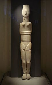 Cycladic idol, parian marble; 1,5 m high (largest known example of cycladic sculpture. 2800–2300 BC