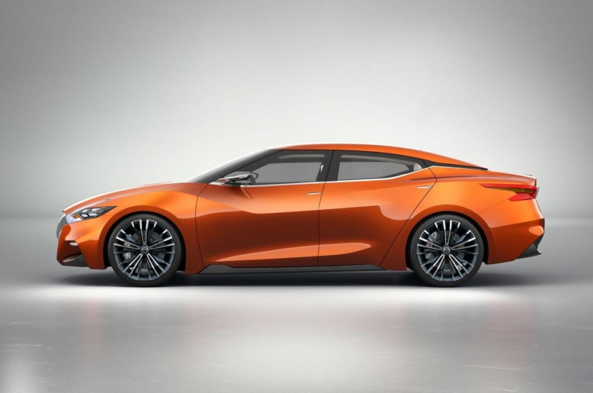 2015 Nissan Maxima sport sedan concept. Note the clean line over the windscreen and side glass.