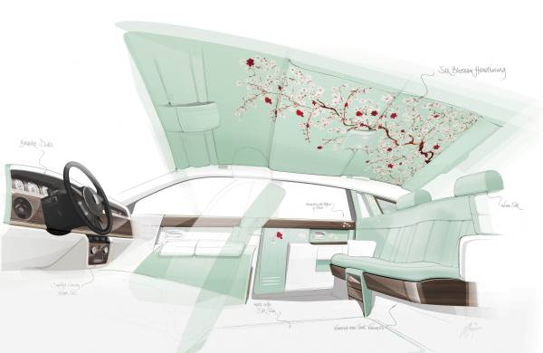 2015 Rolls Royce Serenity interior concept drawing. Thanks to RRMC for the image.