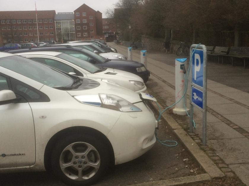 2010 Nissan Leaf recharging in Trojborg, Denmark.