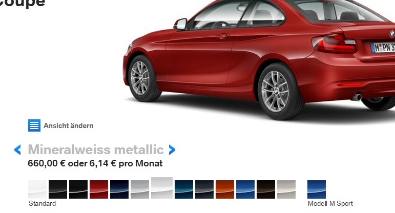 2015 BMW 1-series colour palette. No green. No orange. No yellow.