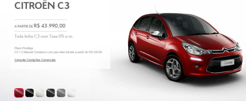 2015 Citroen C3 Brazilian colour palette.