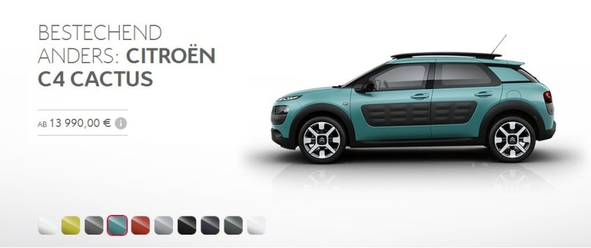 2015 Citroen Cactus colour palette. Not very green.