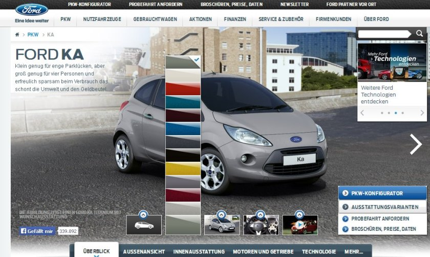 2015 Ford Ka colour options are not bad and there is a yellow in there too.