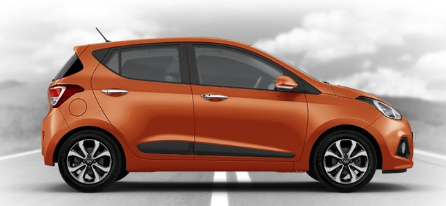 2015 Hyundai i10 in Sweet Orange or New Orange garb.