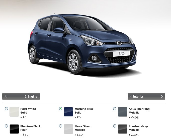2015 Hyundai i10 UK colour palette. Dreary.