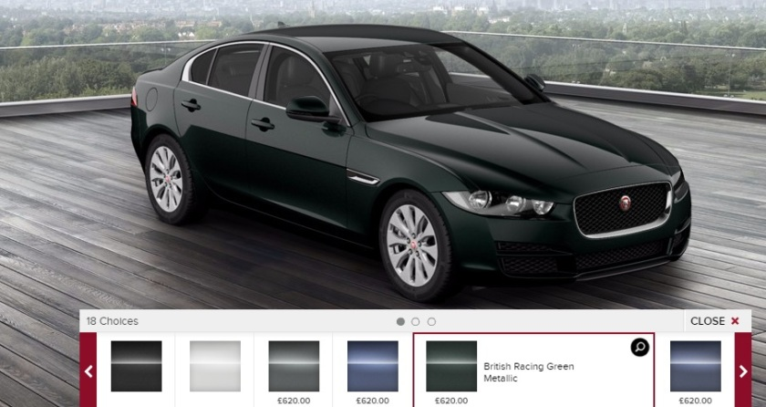 2015 Jaguar XE in British Racing Green. You can´t park that there, sir.