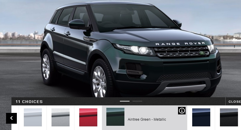 2015 Land Rover Evoque in Aintree Green.