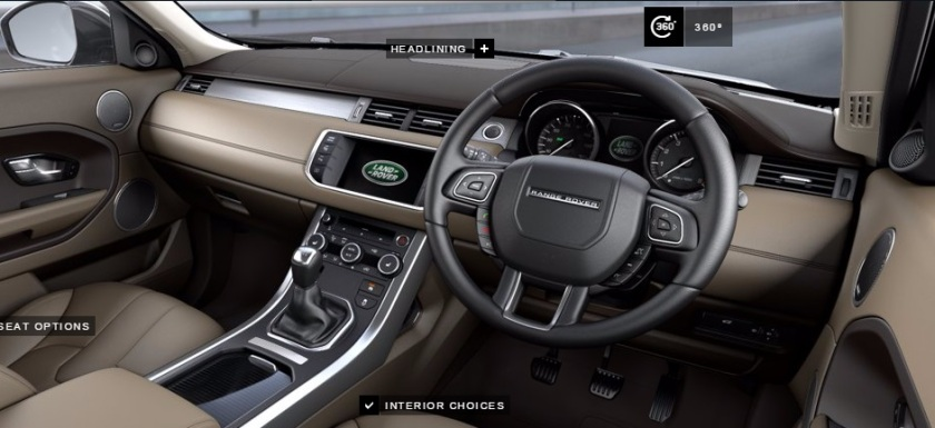2015 Land Rover Evoque interior