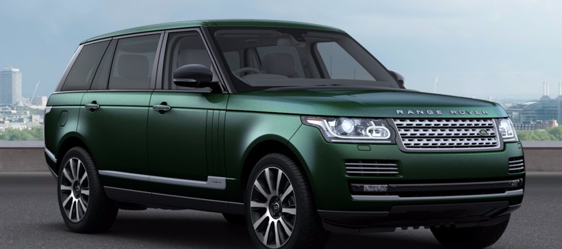 2015 Range Rover, long wheel-base in the same crummy green as paupers choose for their Evoque.