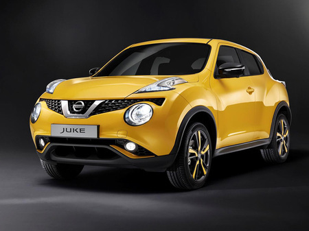 Facelifted Nissan Juke. Yellow with a hint of red. I really like this car in this colour.