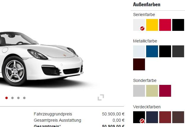 2015 Porsche Boxster colour palette