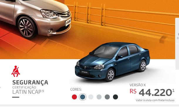 2015 Toyota Etios colour palette. Image: Toyota Brazil.