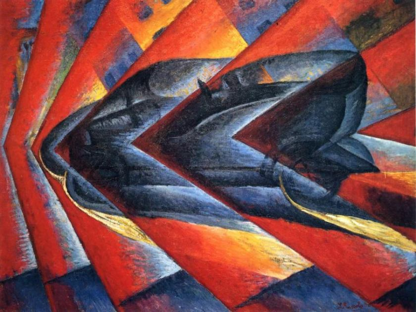 """Dynamism of a Car"" by the Futurist, Luigi Russolo, 1913"