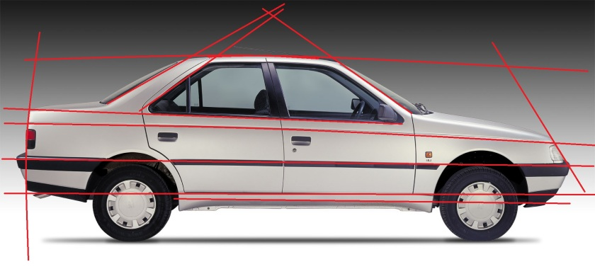 Note how most of the main lines are parallel. The feature line running from the front to back lamps is not a straight line but gently curved.
