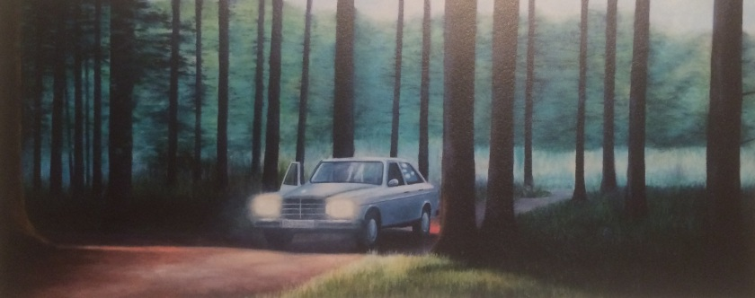 Motor Stop by Steen Larsen. 50x120 cm. Oil on canvas. 2009.