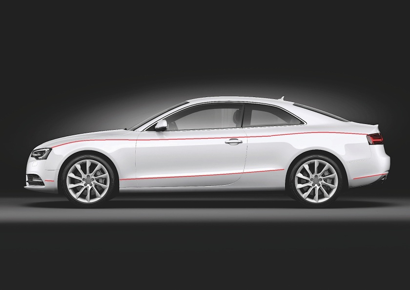 2007 Audi A5 with feature lines marked in red. Image: Autoevolution.
