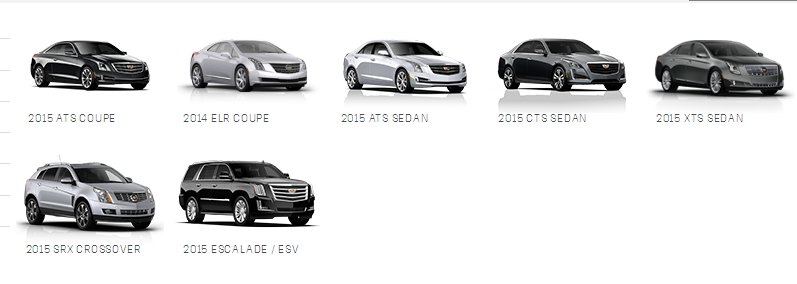 2015 Cadillac line-up. Image: Cadillac.com
