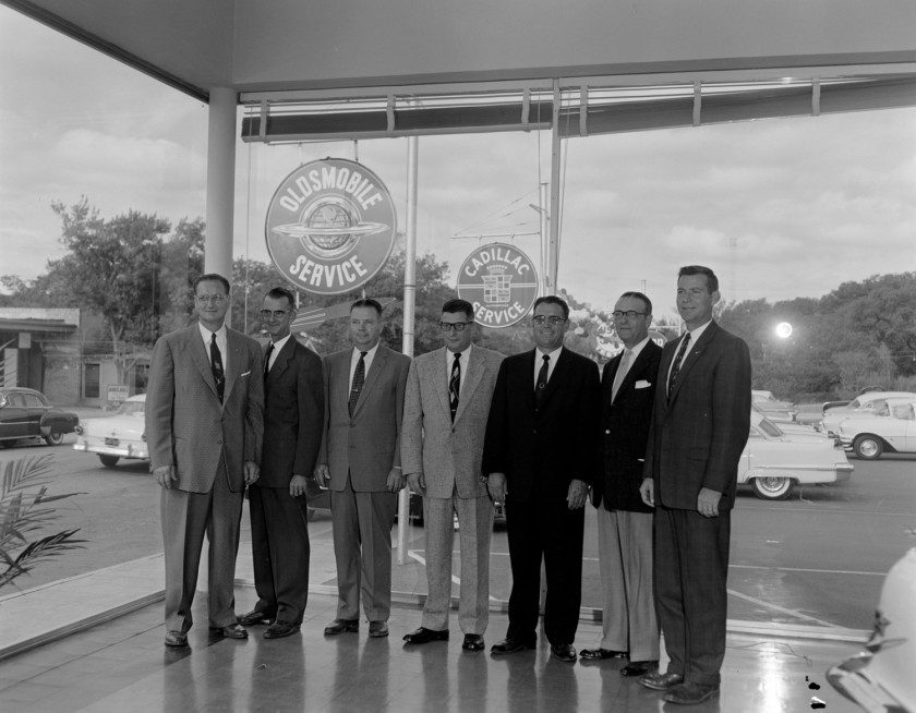 Car dealers at Goad Cadillac dealership in the 1960s. Image: blog.hemmings.com