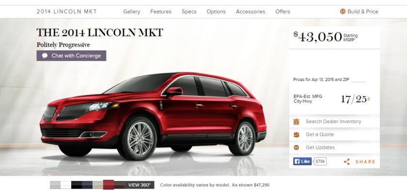2015 Lincoln MKT.