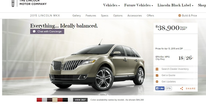 2015 Lincoln MKX.