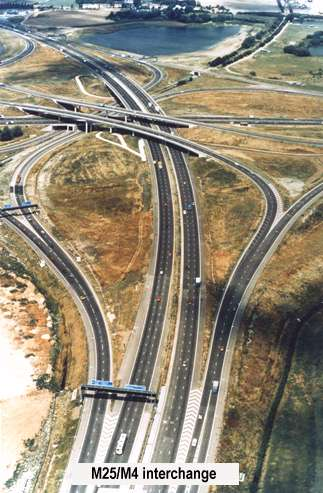 M 25 and M4 interchange under construction.