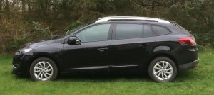 2015 Renault Megane under cloudy conditions.