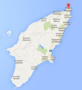 Map of Rhodes: Google maps.