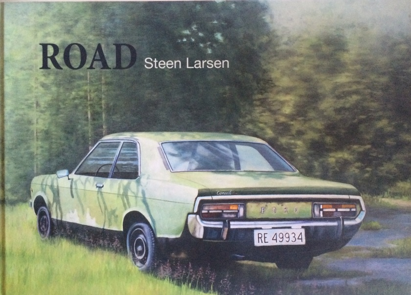 """Road"" the art of Steen Larsen (2012). The book cover is a detail of a 2011 painting 100x200 cm. Oil on canvas."