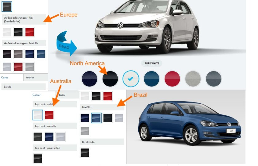 VW Golf colour palettes in four major markets. Images: VW
