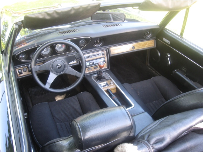 1972 Jensen Healey interior. Look at that fine black nylon cloth.