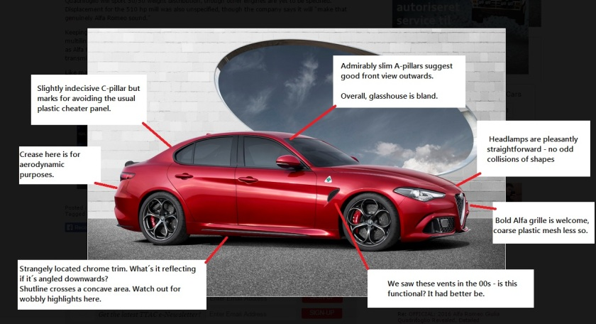 2016 Alfa Romeo Giulia design review: original image from The Truth About Cars.