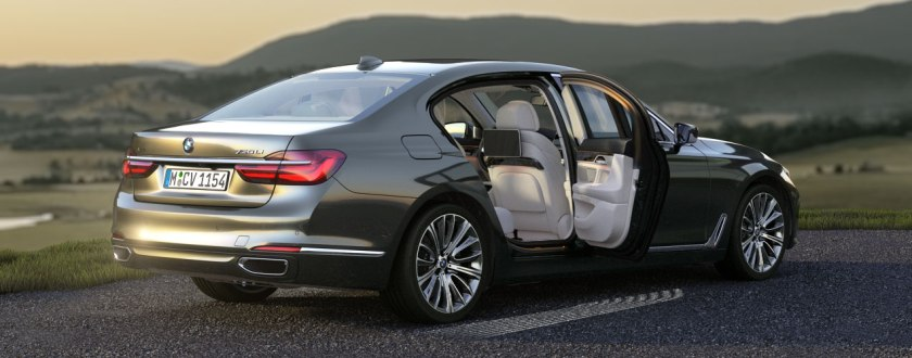 'Wanna lift? I've got gesture control!' The new BMW 7-Series in Arctic Grey Brilliant Effect. Or is it Magellan Grey? Oh forget it. Image via BMW UK