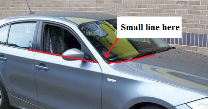 2004 BMW 1 series - you are supposed to link the base of the windscreen to the base of the side glass: autopazar.co.uk