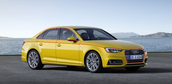 2016 Audi A4 yellow front marked up