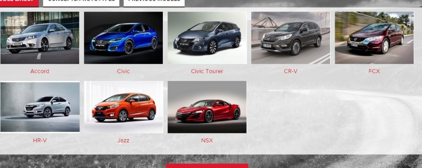 2015 Honda UK model range. room for more cars there, no? Image: Honda UK