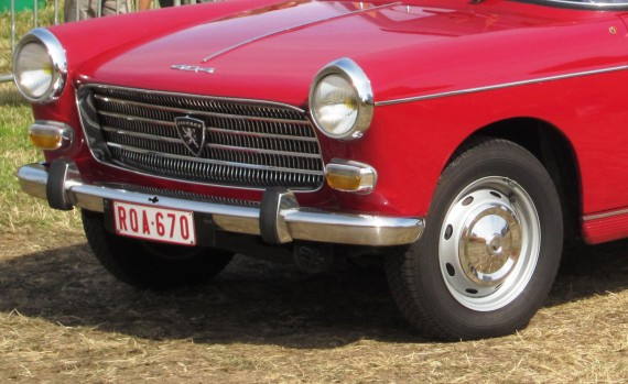 Peugeot hubcap, bolted in place.