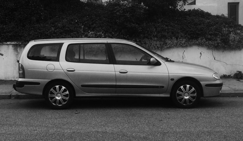 1995 Renault Megane estate in moody black and white.