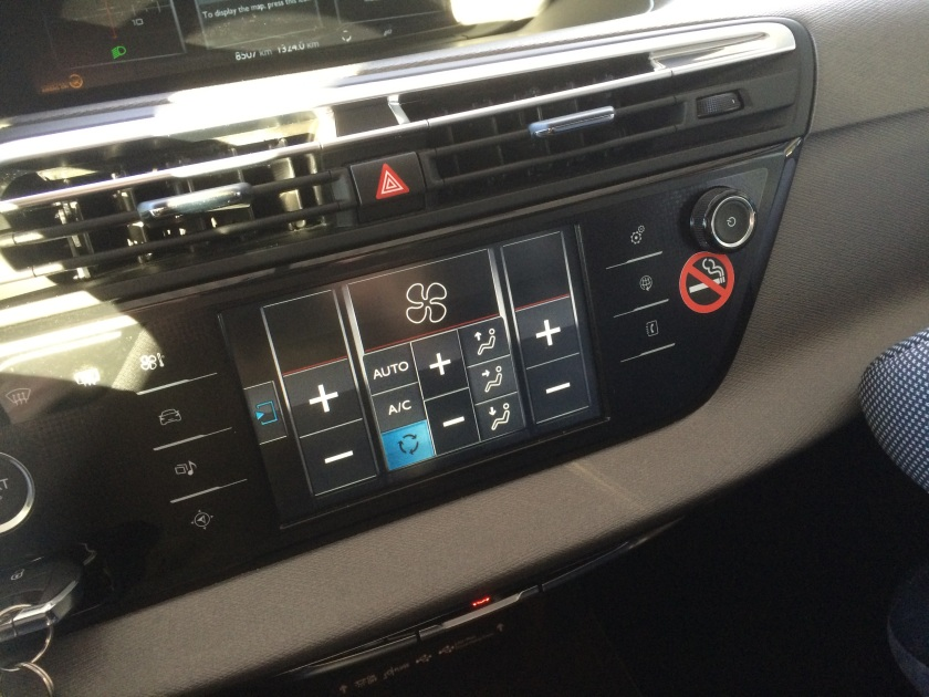 2015 Citroen C4 Picasso HVAC controls. These are fiddly and take your eyes off the road. Deeply problematic.